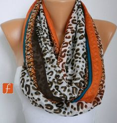ON SALE - Leopard - Infinity Scarf Shawl Circle Scarf  Loop  Scarf Gift -fatwoman