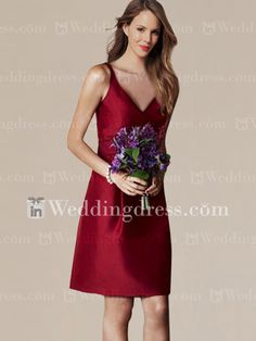 lModest Short Taffeta  Bridesmaid Dress BR174A. Like the straps and the material of this one.