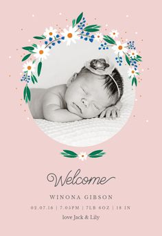 Birth Announcement Template, Baby Shower Invitation Cards, Black And White Wallpaper, Little Babies, Baby Names, Create Yourself, Daisy, Templates, Printable