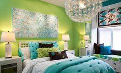 Chambre à coucher- 103 Grandes idées - chambre-a-coucher-vert-blue-chique