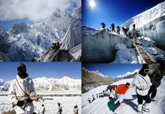 Indian solders in Siachen glacier dealing with too much tough life. Here are 16 facts you should know about Siachen glacier in Himalayas (India). Places Around The World, Around The Worlds, Force India, Incredible India, Planet Earth, Planets, Cool Photos, Tourism, Beautiful Places