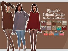 "bubbysims: ""The second I saw this sweater, I knew I had to recolour it. • Mesh is needed download it here! • 14 swatches • Custom thumbnail • No adfly for my recolour • Base game compatible Download """
