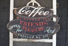 Large Inspirational Wall Art: Coffee - From Antiquefarmhouse.com - http://www.antiquefarmhouse.com/current-sale-events/bistro2/inspirational-wall-art-coffee.html