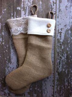 Christmas Burlap Stockings. - 3 lace and 3 fleece cuff, via Etsy.