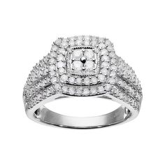 10k White Gold 1 Carat T.W. Diamond Square Halo Ring, Women's, Size: 7