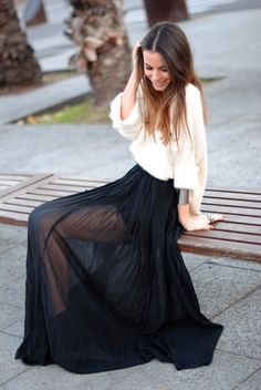 Want a sheer black maxi or a DIY a thrift store maxi skirt and cut the lining. Fashion Mode, Cute Fashion, Look Fashion, Fashion Beauty, Street Fashion, High Fashion, Autumn Fashion, Fashion Outfits, Street Mode
