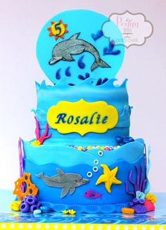 """Sparkly Dolphin"" cake - fondant over white chocolate ganache with fondant detail."
