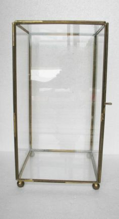 VTG Footed Hinged Brass Finish Box Rectangular 10 x 5 Display Case