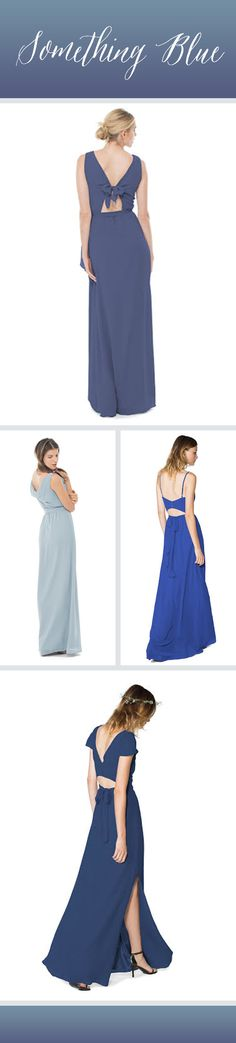 Dress your #bridesmaids in something blue! We're loving these blue bridesmaid dresses with gorgeous backs from @joannaaugust!