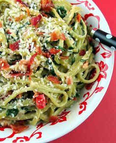 Spinach Linguine with Goat Cheese and Bacon