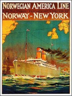 1920s Norwegian Line Ocean Liner Travel Poster