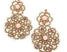 Orecchini P&P Design Donna Chiacchierino in Cotone con Giada rosa e Cristalli