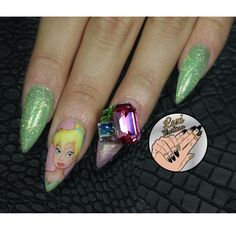 Tinker Bell Inspired Stiletto Nails