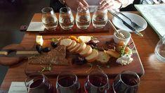 Brix Restaurant fare at Newport Vineyards, flight of wine and cheese board Newport Vineyards, Dairy, Restaurant, Cheese, Wine, Board, Diner Restaurant, Restaurants, Planks