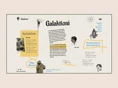 Galaktioni - Chevalier of the Order of Loneliness designed by ilo chani. Connect with them on Dribbble; Website Layout, Web Layout, Layout Design, Website Design Inspiration, Graphic Design Inspiration, Editorial Layout, Editorial Design, Book Design, App Design