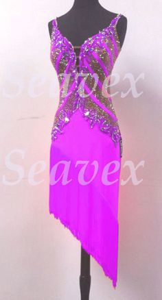 U4604 Fringing Ballroom women salsa rumba Latin chacha dance dress Custom made
