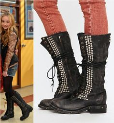 "Maya Hart (Sabrina Carpenter) wears Jeffrey Campbell Studded Seattle Love Boot in thecolor Black in Girl Meets World Season 1 Episode 1 ""Pilot."""