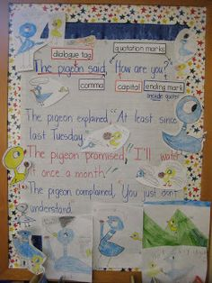 Use Mo Willems' Pigeon books to teach correct quotation/punctuation usage! Classroom Charts, Classroom Helpers, Narrative Writing, Writing Workshop, Writing Skills, Grammar And Punctuation, Pigeon Books, Common Core Writing