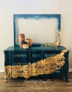 I'm falling all over myself for this bohemian blue and gold combination! Created by Leah Noell Design Co. I'm falling all over myself for this bohemian blue and gold combination! Created by Leah Noell Design Co. Refurbished Furniture, Paint Furniture, Repurposed Furniture, Furniture Projects, Furniture Makeover, Bedroom Furniture, Gold Leaf Furniture, Furniture Stores, Furniture Refinishing