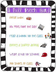 A list of rewards for students to choose from when using a punch card system.  Most rewards are free!!...
