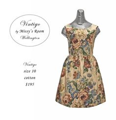 New dress, made by us in Wellington, from medium weight vintage cotton. Only one made. Sorry, SOLD