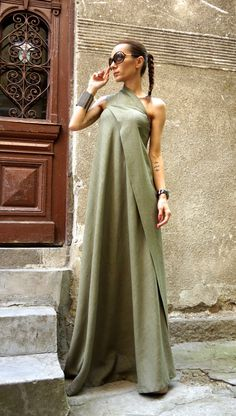 NEW Maxi Dress / Olive Green Kaftan Linen Dress / One Shoulder Dress / Extravagant Long Dress / Party Dress by AAKASHA A03144