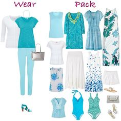 On the #blog today a #holiday #capsuleWardrobe in white & #turquoise #aqua one piece of luggage 17 #outfits plus #swimwear see it at lookingstylish.com
