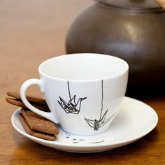 Origami birds- Hand painted porcelain cup £16.00