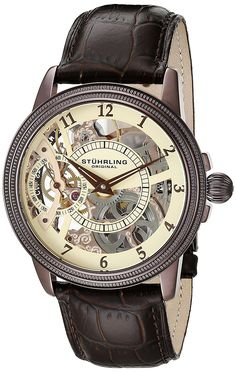 Stuhrling Original Men's 228.3365K77 Brumalia Mechanical Watch with Brown Leather Band ** Check out the image by visiting the link.