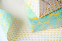 Double Sided Wrapping Paper, blue and yellow print, 3 sheets