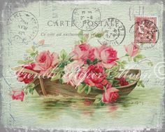 Vintage French Carte Postale Roses Typography Digital Collage Sheet Printable Graphic Transfer Scrapbooking Iron On Fabric by FrenchPaperMoon on Etsy