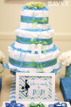 """A """"Ready to Pop"""" themed DIY Baby Shower! http://savvystyle.net/2013/08/21/ready-to-pop-baby-shower/ diaper-cake"""