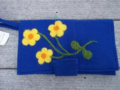 Felted Royal Blue Clutch Yellow Flowers by TwiceNicePurses on Etsy, $42.00