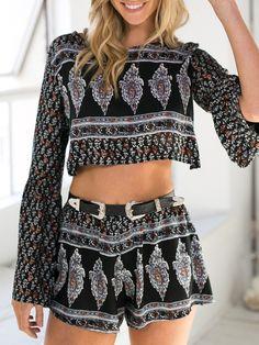 Black,Tribe Print,Long Sleeve,Crop Top,Elastic,High Waist Shorts