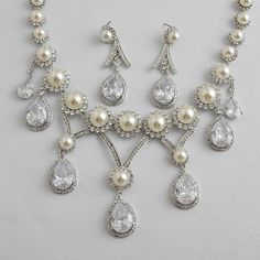 White Gold Plate Pearl Silver Chandelier Wedding Bridal Jewelry Sets SKU-10801538