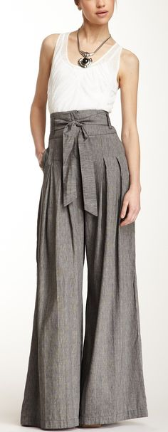 Cross Dyed Linen Blend Coulotte Pant