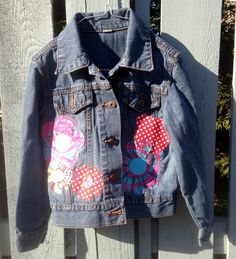 Girls Denim Jacket S, with Lots of Embellishments: Flowers, Ladybugs, Butterfly, Dragonfly, Peace Sign. by AnnaBellesFavorites on Etsy