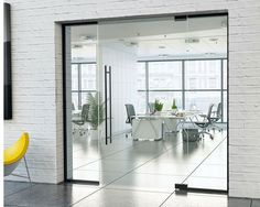frameless glass partition with hinged door and black hardware Pocket Doors, Glass Partition, Glass Hinges, Sliding Glass Door, Glass Room Divider, Crittall, Luxury Rooms, Hardware, Light And Space