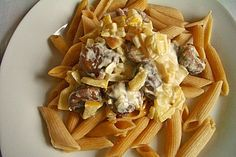 Nudeln mit Maronen - Sahne - Sauce Snack Recipes, Snacks, Pasta, Macaroni And Cheese, Waffles, Cabbage, Chips, Low Carb, Chicken