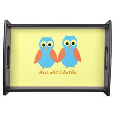 Owl couple, cute, add names Serving Trays. http://www.zazzle.com/artistjandavies?rf=238294944005162796