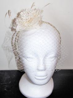 Cream birdcage bridal fascinator, flower fascinator, wedding fascinator, feather fascinator Bridal Veils And Headpieces, Bridal Fascinator, Fascinators, Sculpture, Trending Outfits, Unique Jewelry, Handmade Gifts, Beautiful, Vintage