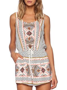 Women's White Tribe Print Drawstring Waist Boho Romper  Under $14