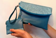 Turquoise Evening Bag, Faux Leather Clutch, Bag and Purse Set, Glitter Bag, Blue Clutch, Faux Leather Bag, Prom Bag, Wristlet, Swoon Heidi by DippyDaisyDesigns on Etsy