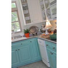 Painted Kitchen Cabinets:: Retro Turquoise Style » lifeingrace