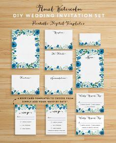 Download this whimsical DIY Floral Watercolor Wedding Invitation Set! ahandcraftedwedding.com #wedding #printables