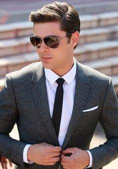 Classic look for tweed. Zac Efron.