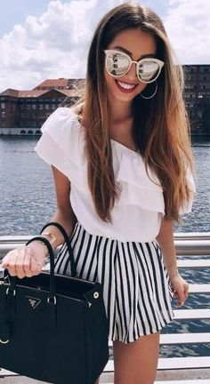 #summer #fashion / black and white stripes