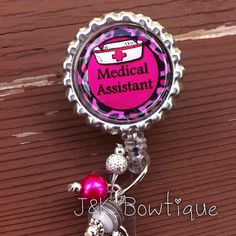 Medical Assistant  retractable badge reel with beads by jkbowtique, $6.00