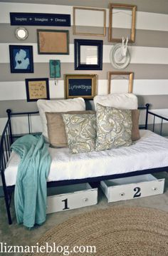Lovely Day Bed at lizmarieblog.com.   Like the simple metal frame.- Adrian