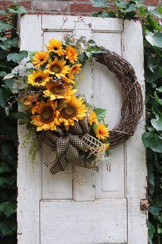 Farmhouse wreath for Spring, Sunflower wreath, Spring wreath Front door, Rustic Farmhouse decor, Sun Double Door Wreaths, Spring Front Door Wreaths, Fall Wreaths, How To Make Wreaths, Rustic Farmhouse Decor, Country Farmhouse, Farmhouse Front, Country Decor, Sunflower Wreaths